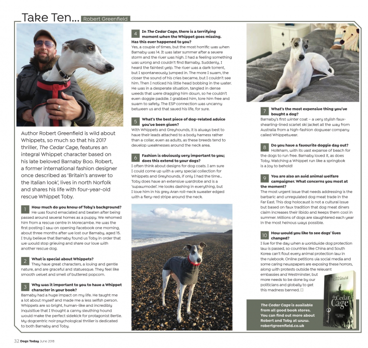Robert Greenfield in Dogs Today Magazine